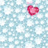 Ruby heart among diamonds seamless pattern Stock Photography