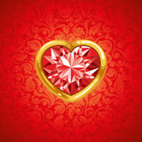 Ruby heart in golden frame. Background with red ruby heart in golden frame Royalty Free Stock Photography