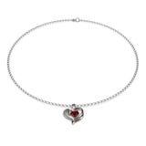 Ruby Heart Necklace en el ejemplo blanco 3D Imagen de archivo