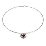 Ruby Heart Necklace  on White 3D Illustration Stock Image