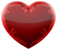 Ruby heart with ornament Stock Images