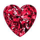 Ruby Heart Over White Background Stockbild