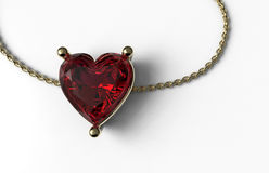 Ruby heart shape in gold and gold chain. On white surface Stock Photo
