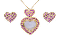 Ruby heart shaped Jewelry set Royalty Free Stock Image