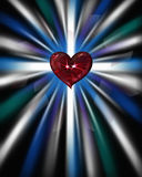 Ruby Heart Vertical Poster. Eye popping ruby heart with two lindie stars, set against a cool starburst backdrop - graphic illustration, vertical version Royalty Free Stock Image