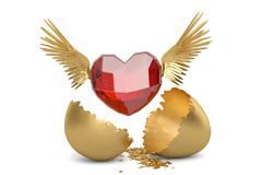Ruby heart with wings and break gold egg. 3D illustration. Ruby heart with wings and break gold egg. 3D illustration royalty free illustration