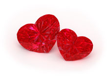 Ruby Hearts. 3d illustration of two ruby hearts on white background Royalty Free Stock Photography