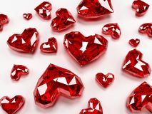Ruby hearts Stock Photos