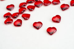 Ruby hearts on white background Royalty Free Stock Image