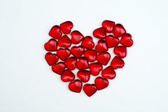 Ruby hearts on white background Stock Photo