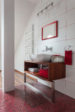 Ruby house - washbasin on couter top Stock Photo
