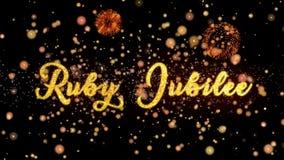 Ruby Jubilee Abstract-de deeltjes en schitteren de kaarttekst van de vuurwerkgroet royalty-vrije illustratie