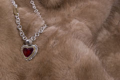 Ruby Necklace on Mink Royalty Free Stock Image