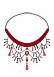 Ruby necklace. Vector Illustration of jewelry, EPS 8 file Stock Illustration