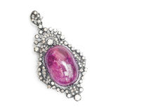 Ruby Pendant with Diamond Royalty Free Stock Images