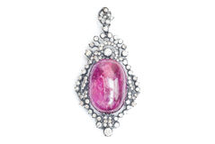Ruby Pendant with Diamond Royalty Free Stock Photography