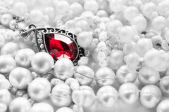 Ruby pendant and pearl Royalty Free Stock Photos