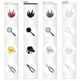Ruby is a precious mineral, a magnifying glass, a piece of rock, jewelry pincers. Precious mineral set collection icons. In cartoon black monochrome outline Stock Photos