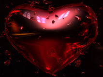 Ruby Red Heart. S with little hearts around, behind, and through it.  Black background with highlighted reflections and refractions.  A Glass/Ruby heart scene Stock Photos