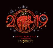 Ruby Red symbol on black. Pig 2019 in the Chinese calendar. Beautiful New Year card with the symbol of the year Golden Pig royalty free illustration