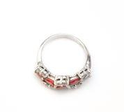 Ruby Ring with Diamonds Stock Photos