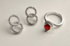 Ruby ring and earring Stock Image