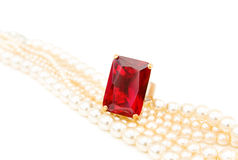 Ruby ring with pearls Royalty Free Stock Photos