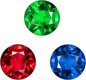 Ruby, Sapphire, and Emerald Gem vector illustration