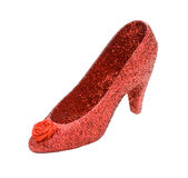 Ruby Slipper. There's no place like home – A ruby red stiletto shoe, isolated royalty free stock photo