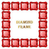 Ruby square frame Royalty Free Stock Images