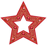 Ruby Star Isolated Object. Five-pointed star with a red outline, lined with precious rubies. Isolated Object Stock Photo