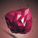 Ruby vector digital 3d abstraction, lattice geometric polygonal Stock Photo