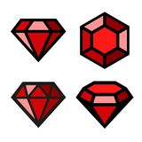 Ruby vector icons set Stock Photos