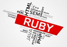 RUBY word cloud, tag cloud, vector graphics Stock Photography