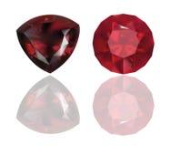 Ruby y Garnet Vector Realistic Illustration Joyería roja En el fondo blanco Fotografía de archivo libre de regalías