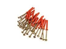 Śruby z czerwonymi plastikowymi kotwicami Zdjęcie Stock