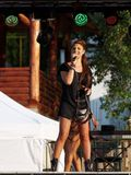 Rucar, ROMANIA � SEPTEMBER 13 2014: Roxana Postelnicu singer from Heaven band in concert Stock Photo