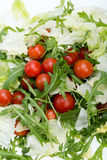 Ruccola, lettuce leaves and cherry tomatoes Stock Photo