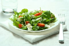 Ruccola salad with baked pumkin and goat cheese Stock Image