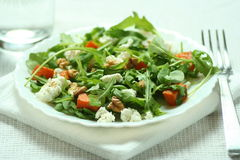 Ruccola salad with baked pumkin and goat cheese Royalty Free Stock Photo