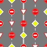 Ruchów drogowych znaków bezszwowy deseniowy tło Fotografia Royalty Free