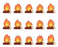 Ruch animaci płomienia oparzenie nocy obozu ogniska projekta wektoru Gemowy element Odizolowywająca rama Ustawiająca Płaska ilust ilustracji