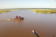 Ruch denni handlowi statki, holowniki i Beaumont, Teksas obraz stock