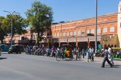 Ruch drogowy i drogi w Jaipur podczas dnia Obraz Royalty Free