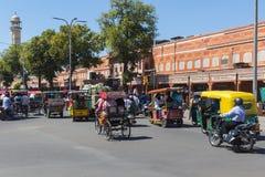 Ruch drogowy i drogi w Jaipur podczas dnia Zdjęcie Stock