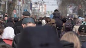 Ruch drogowy ludzie w mieście Przepływ turyści kwadrat zdjęcie wideo