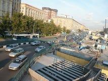 Ruch drogowy na ulicy naprawie Zdjęcie Stock