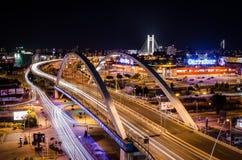 Ruch drogowy noc Obrazy Stock