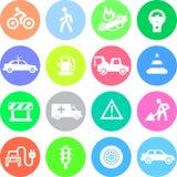 Ruch drogowy podaniowe ikony w kolorów okręgach Ilustracji