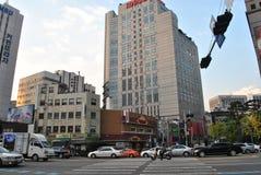 Ruch drogowy Seul i architektura, Korea Zdjęcie Stock